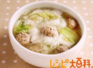 白ねぎとねばりっこの肉団子スープ