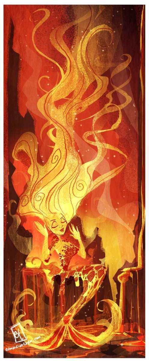 Edward Ian Taylor - Lava Mermaid in Volcano