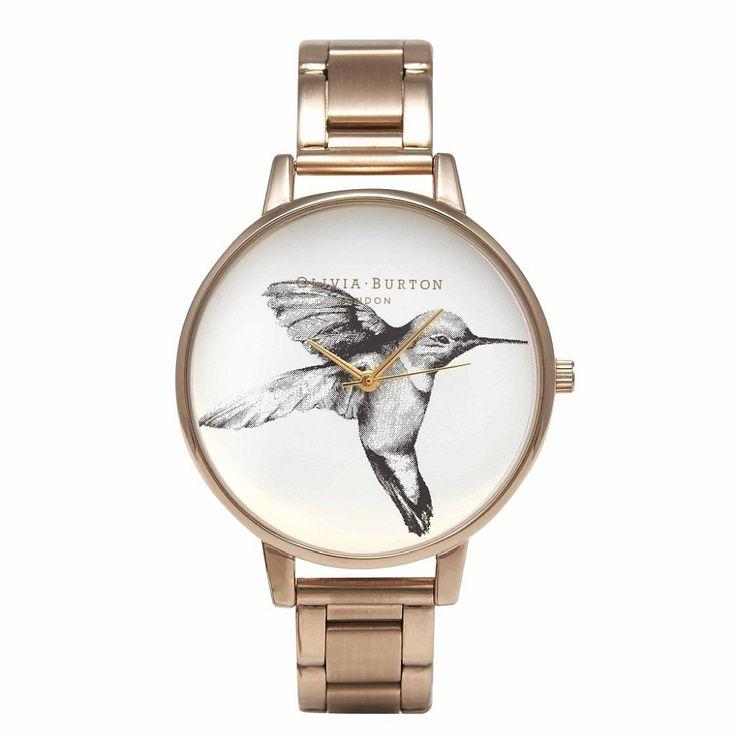 Olivia Burton hummingbird rose gold bracelet watch - hardtofind.