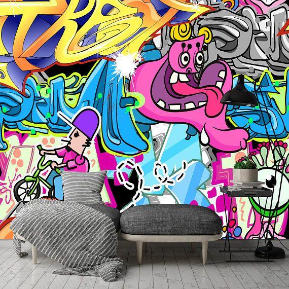 Removable Wallpaper Mural Peel Stick Street Art Graffiti Etsy Graffiti Wallpaper Mural Wallpaper Street Art Graffiti
