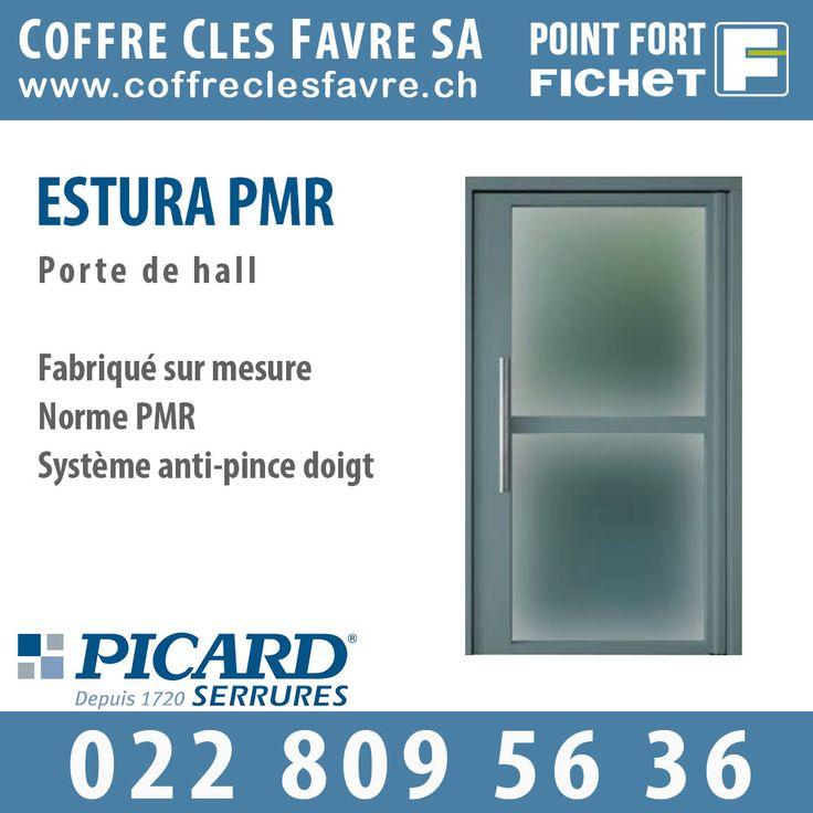 Estura PMR Porte acier sur pivot avec système anti-pince doigt. Norme et certification : PMR. Ouverture vers l'extérieur #Pointfortfichet #Geneve #hall #porte #securite