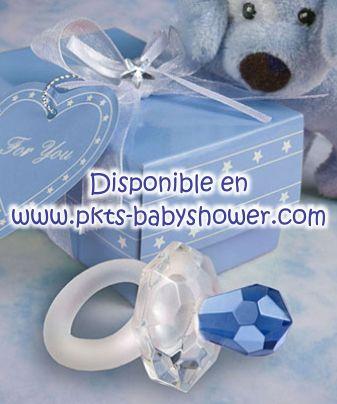 Recuerdos para Baby Shower - Chupón Azul de Cristal Cortado - Disponible en www.pkts-babyshower.com