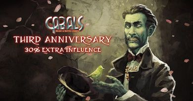 Third Anniversary 30% more influence News | Cabals: Magic & Battle Cards