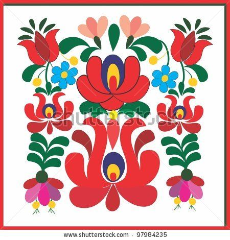 free hungarian embroidery patterns   Embroidery Hungarian Pattern Stock Vector 97984235 : Shutterstock