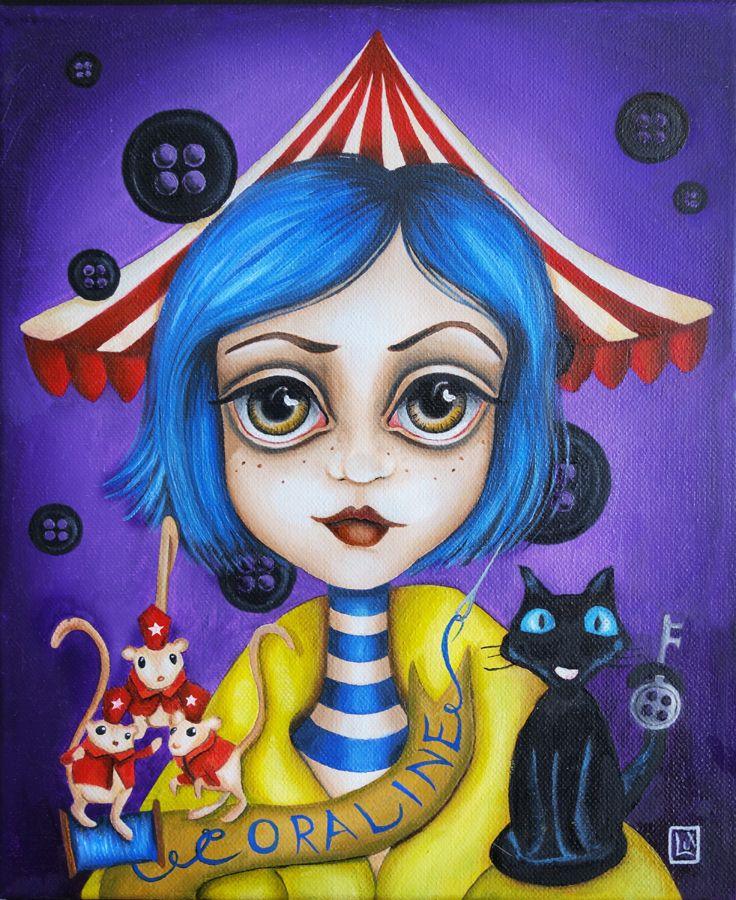 Coraline, oil on canvas, art by Alessandra Lux #lowbrow #popsurrealism #coraline #painting #contemporaryart #blackcat #mouse #tribute