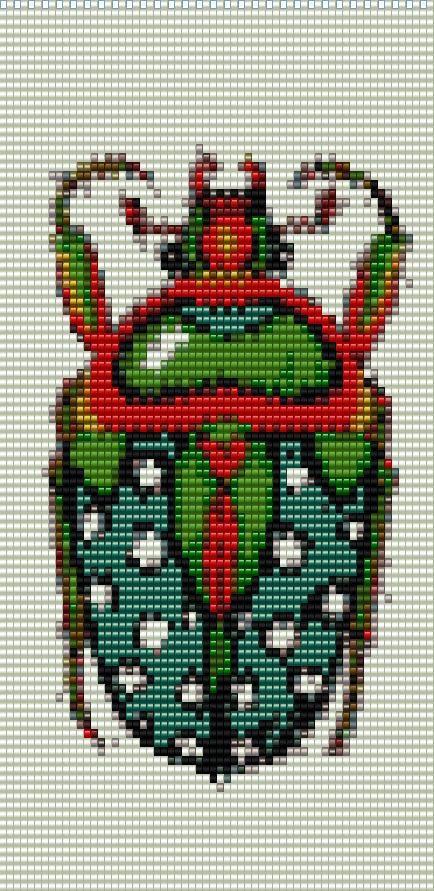 Beetle Loomed Cuff Beaded Bracelet Pattern by RubyDsArtandJewelry