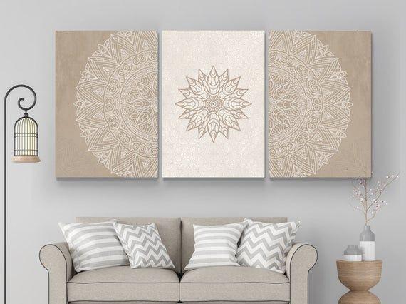 Mandala Wall Art Beige Mandala Wall Art Set Of 3 Art Boho Etsy In 2021 Mandala Wall Art Wall Art Corner Living Room Art