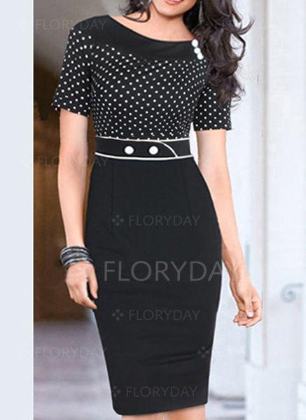 Black Cotton Polka Dot Short Sleeve Knee-Length Dresses (1000368) @ floryday.com