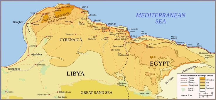 Hard fought battles by the Allies. North African Campaign - map of Egypt & Cyrenaica, Libya, 1941 -1942.