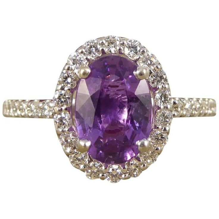 Purple Sapphire Diamond 18 Carat White Gold Engagement Ring   From a unique collection of vintage engagement rings at https://www.1stdibs.com/jewelry/rings/engagement-rings/
