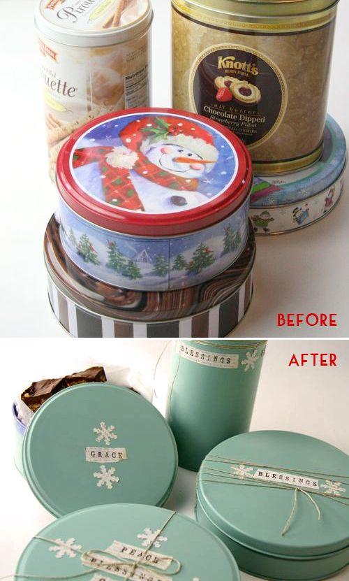 trasforma delle scatole di biscotti in latta in splendide confezioni regalo o da…
