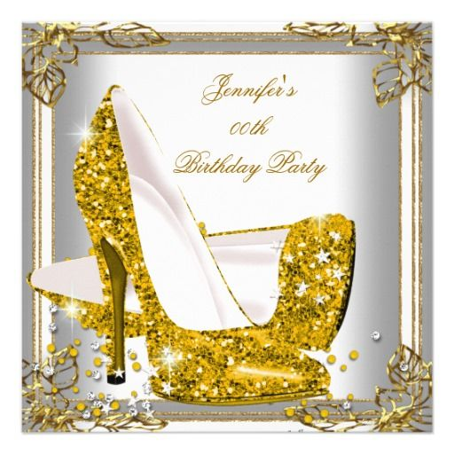 Gold Glitter High Heel Shoes Silver Birthday 2