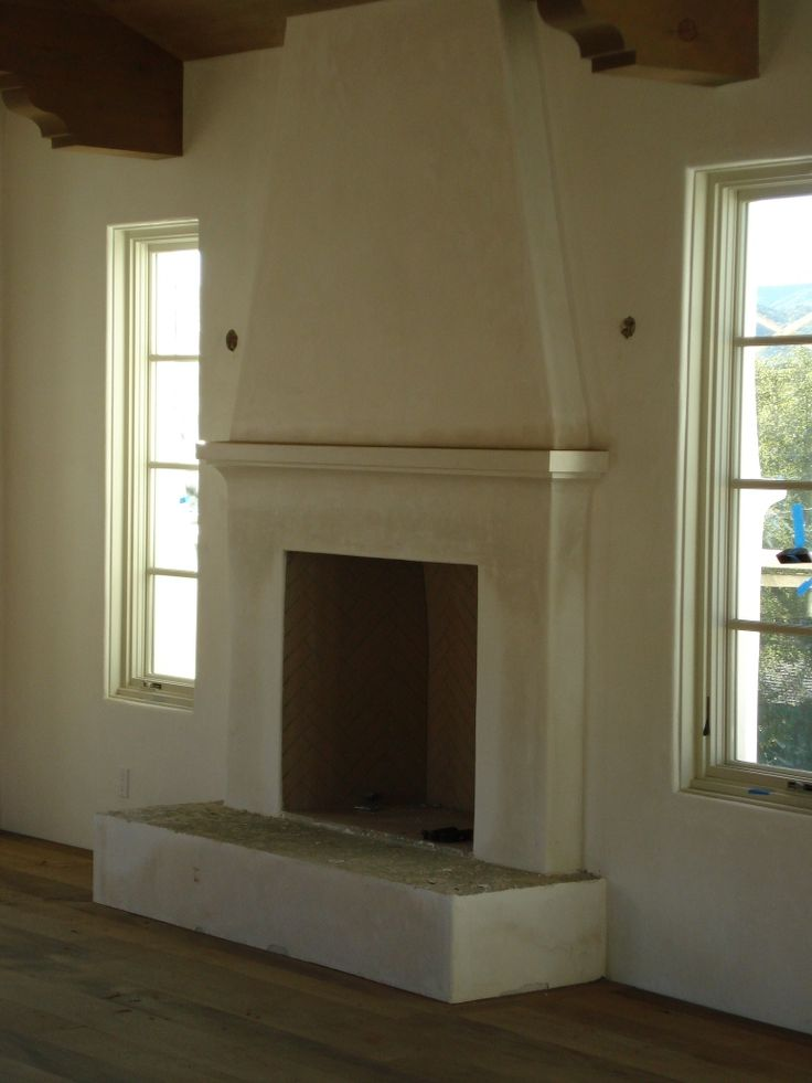 Simple mantel, plaster fireplace