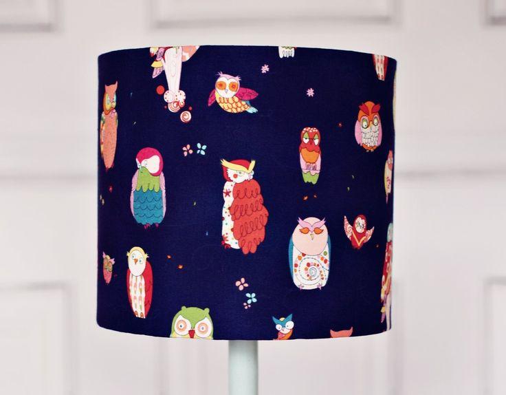 Navy blue lamp, navy lamp shade, lampshade, lamp shade, owl lampshade, owl lamp, owl lamp shade, nursery lampshade, kids lamp shade, shade