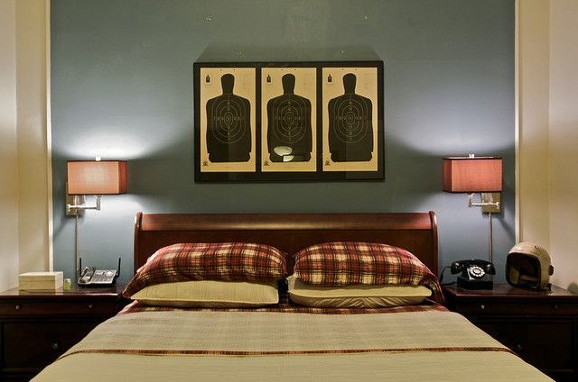 Decorating with shooting targets - I love it. :)
