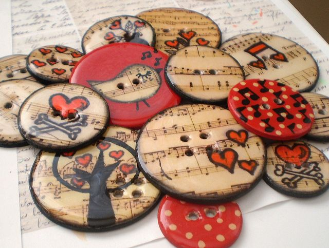 Chipboard Epoxy Button Embellishments with Journaling Tag and Coordinating Floss-Vintage Musical Birdie Set | Flickr - Photo Sharing!