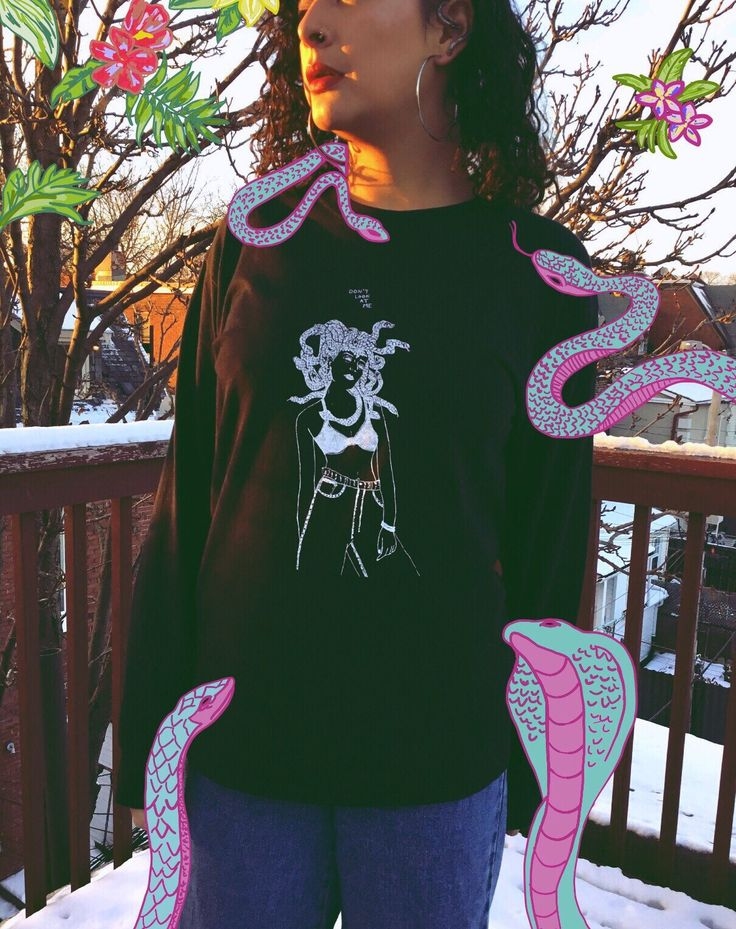 Medusa Don't Look At Me design by me for my Mythology Series, locally printed on long sleeve, black unisex Gildan shirts, right here in Toronto. Colors may vary on different screens. Care I...