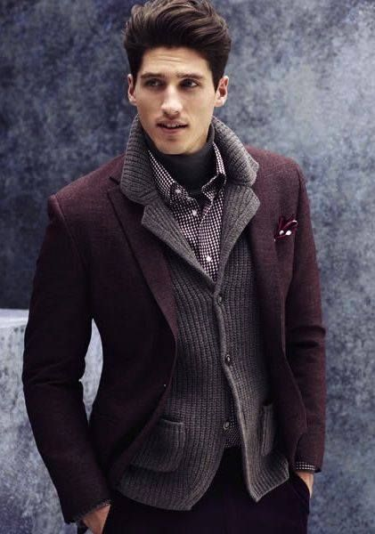 Winter-smart layers highlighted by a beautiful eggpant jacket.