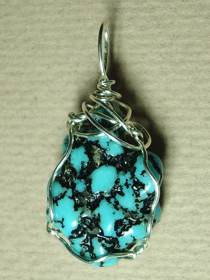 Sterling Silver wire wrapped Turquoise Nugget - unique handmade pendant for men or women.