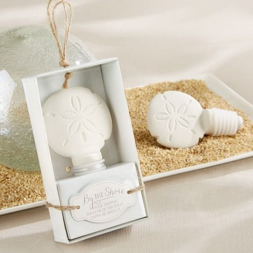 Ceramic Sand Dollar Bottle Stopper, perfect for a beach or destination wedding.