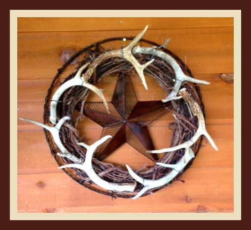 Wreath,Hunting,Summer Wreath,Antler Wreath,Hunting Decor,Lodge Decor,Wrought Iron Wreath, Deer Wreath,Texas Wreath on Etsy, $229.00