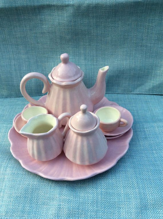 Miniature Porcelain Tea Set All in Pink w White Inside, Tray, Teapot w Lid, Sugar w Lid, Two Cups w Two Saucers.