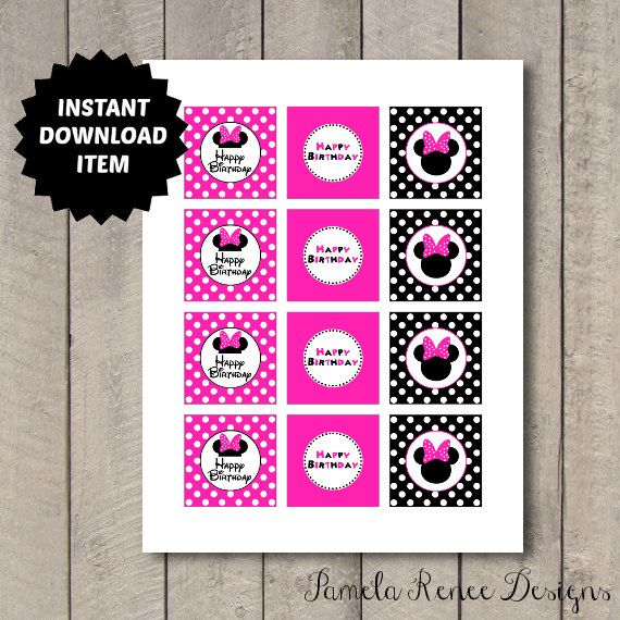 INSTANT DOWNLOAD Pink Minnie Mouse Cupcake Toppers/Favor Tags. Printable DIY.