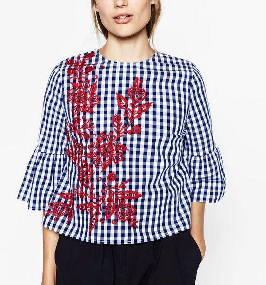 2017 новый женщины винтаж o шеи плед распечатать цветок вышивка свободные блузки женская мода бабочка рукавом roupas femininas рубашки купить на AliExpress