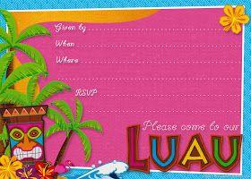 Invitaciones, Etiquetas Y Toppers De Fiesta Hawaiana Para Imprimir Gratis.  Luau Einladungen DiyHawaiische EinladungenParty ...