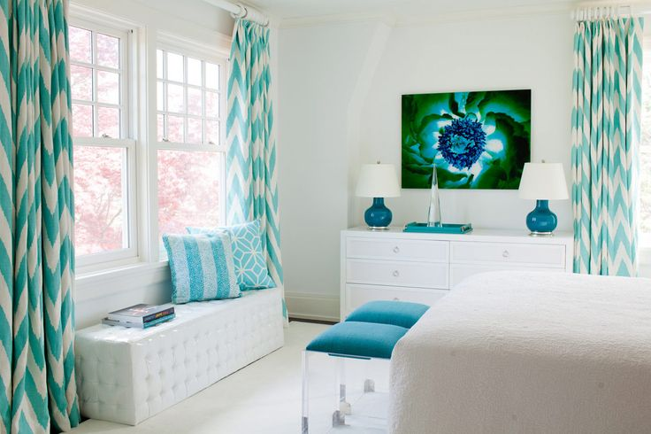 Amanda Nisbet Design: White bedroom with pops of turquoise and teal. Love the turquoise ikat chevron drapes