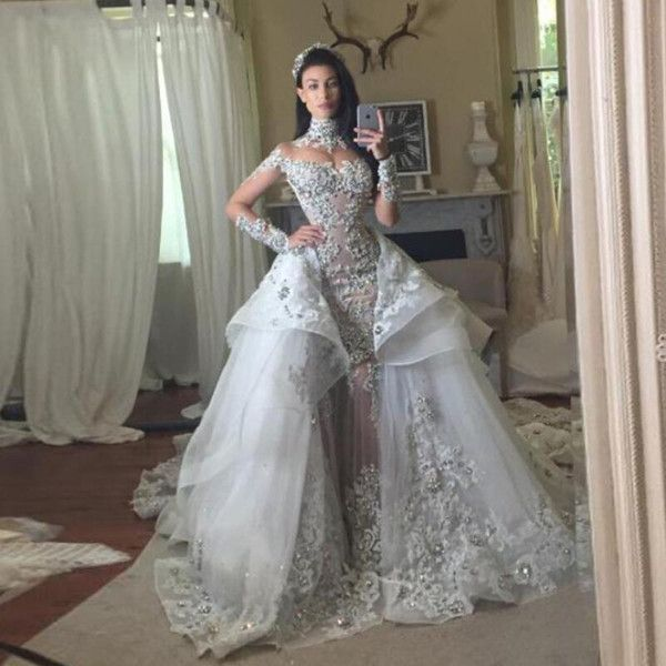 Cheap Fantacy Luxury Crystal Wedding Dresses With Detachable Over Skirt High Neck Long Sleeves Beaded Applique Mermaid Gowns Bridal Dress As Low