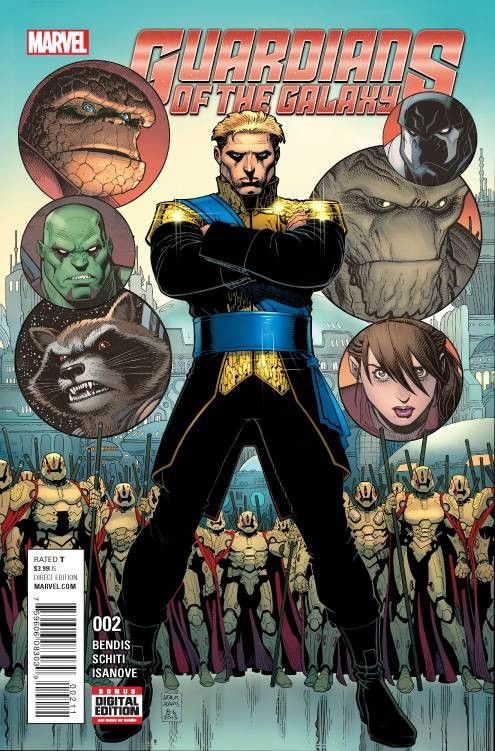 *High Grade* (W) Brian Michael Bendis (A) Valerio Schiti (CA) Arthur Adams • Meet Emperor Quill and his Imperial Guard. • What brings the Guardians into their crosshairs? Rated T