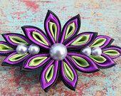 Kanzashi flower french barrette clip Christmas hair clip Holiday hair clip Women hair clip Wedding kanzashi hair clip