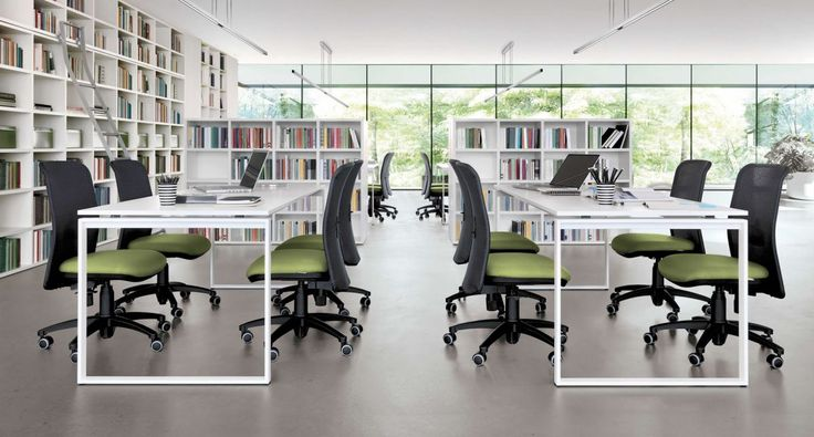 Z573- Desks with P02 frame leg. Otavo chairs. Link System bookcases.