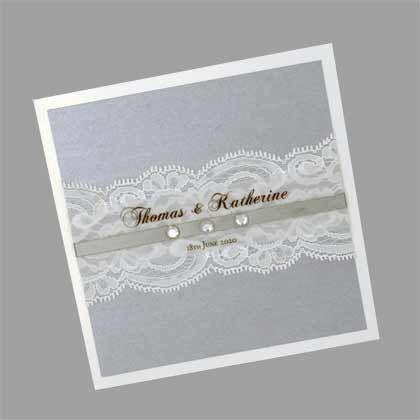 Square Folding Wedding Invitation with Lace, Translucent Name Band, Ribbon and Diamantes. www.kardella.com