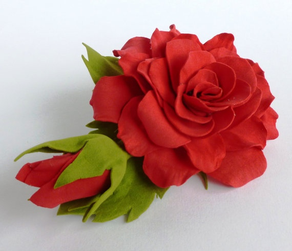 Large Red Rose Barrette from FoamIran with bud by DesignedForGirls, £5.95