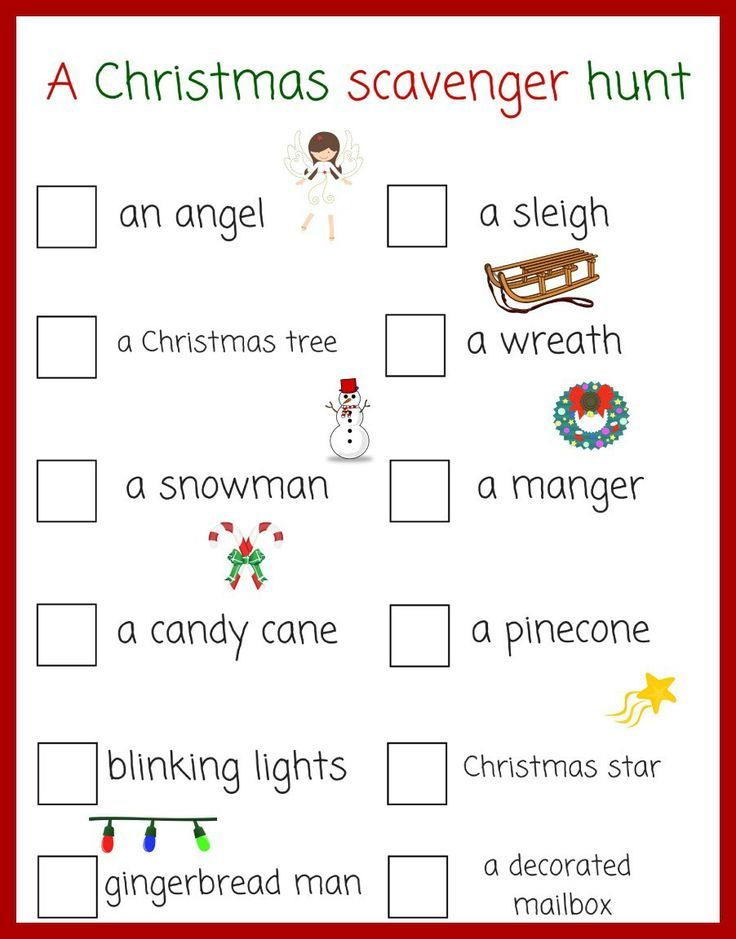 A fun Christmas scavenger hunt for kids! This would be fun to do out driving/looking at Christmas lights.