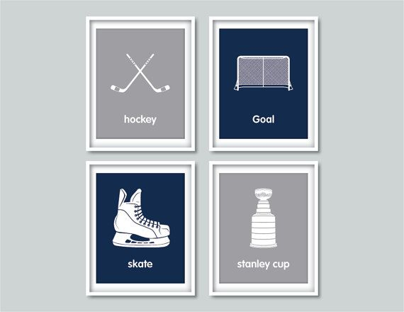 Hockey art  Children's wall art prints  Hockey decor  by Wallerbee