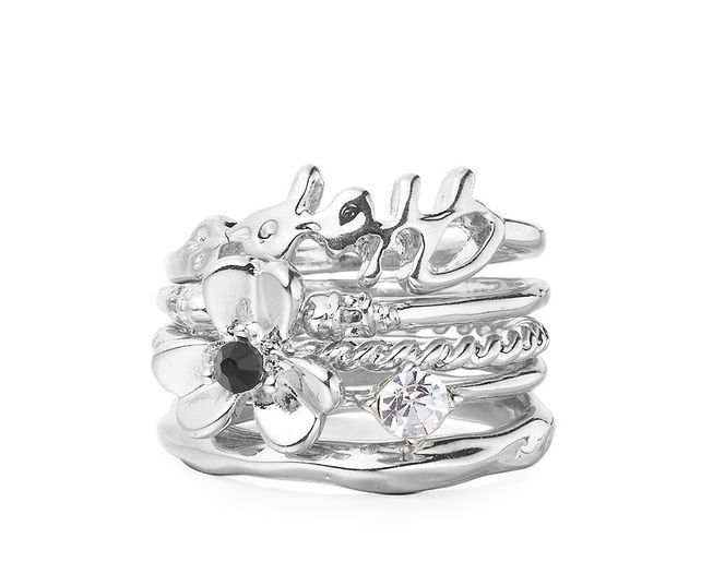 Silver Floral Stacking Rings £28.00