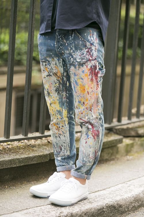 """well loved painting pants, just like me, I use my pants as a wiping/brush cleaning/blending tool, and I keep them until they crack and have holes..... love! Heartbreaking to have to throw them away, so I save them for a possible art project since often they are quite beautiful."""