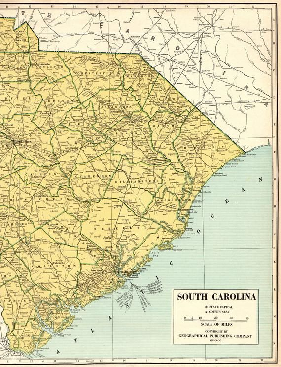 1944 Rare Size Antique SOUTH CAROLINA State Map Poster Size South ...