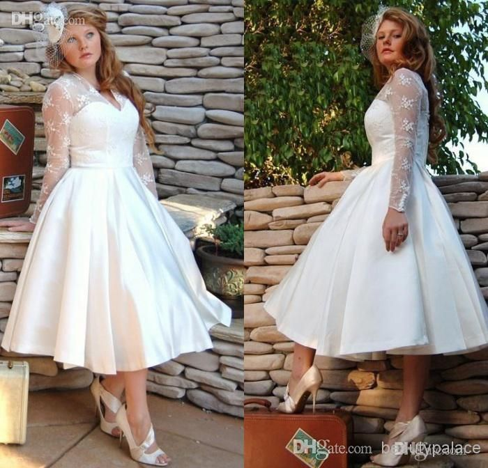 Cheap Plus Size Sheer Garden V Neck Wedding Dresses With Long Sleeves 2017  Tulle Stain Ball Gowns Lace Appliques Short Tea Length Bridal Dress As Low  As  198 best Short Plus Size Wedding Dress images on Pinterest  . Plus Size Wedding Reception Dresses For The Bride. Home Design Ideas