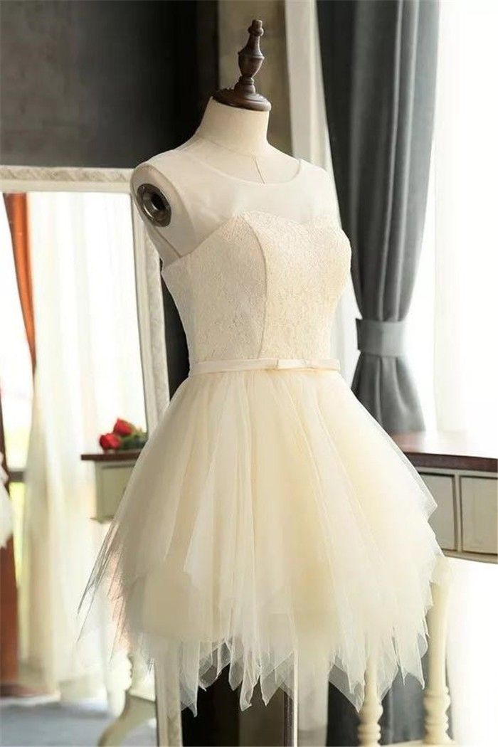 Cute Scoop Neck Cream Lace Tulle Ruffle Short Prom Dress Bow Belt ...