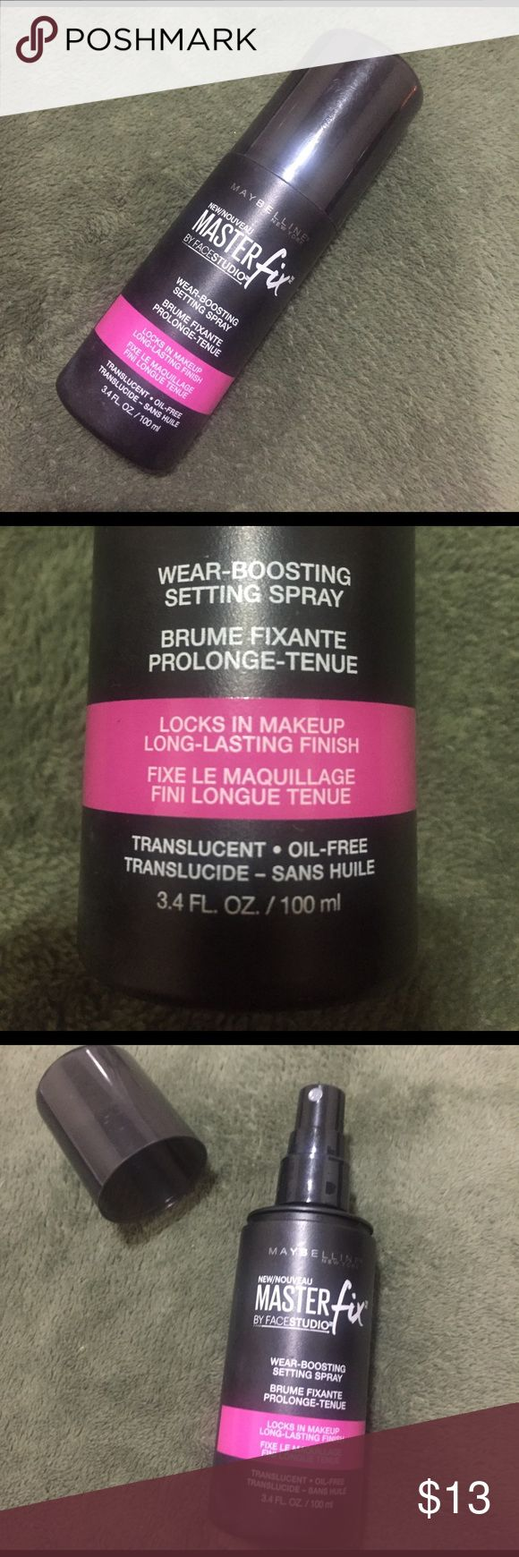 Maybelline MasterFix By FaceStudio. Wear Boosting Setting Spray. Locks In Makeup for Long Lasting Finish. Brand New. Never used Maybelline Makeup