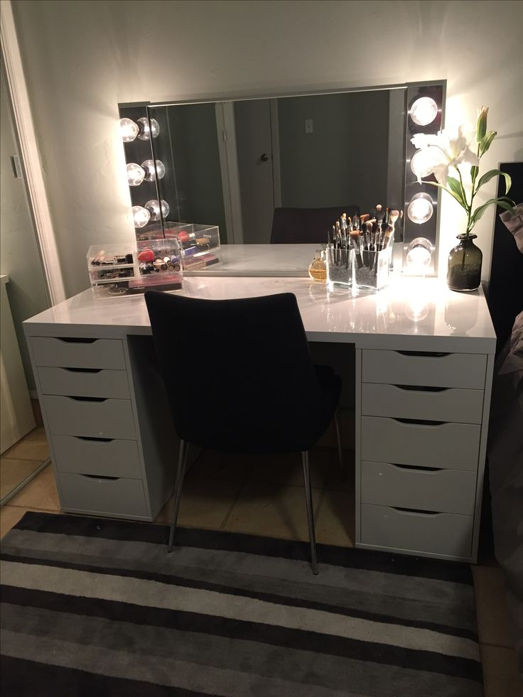 DIY makeup vanity. IKEA Alex drawers with a glossy laminate top. Home Depot lights and mirror (inspired by Simply Sandra on YouTube)