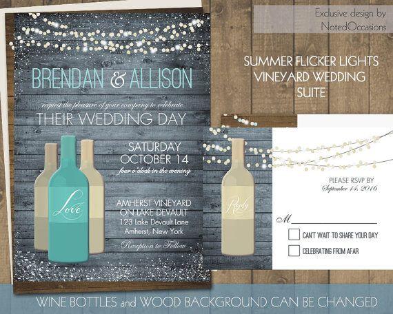 Vineyard Wedding Invitations Set Printable Rustic Wine Country Wedding  Invitations String Lights  Wine Bottle RSVP And Invite Template Suite