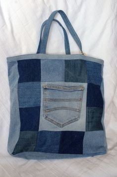 A shopping bag made from old jeans (and lined with an old men's shirt).
