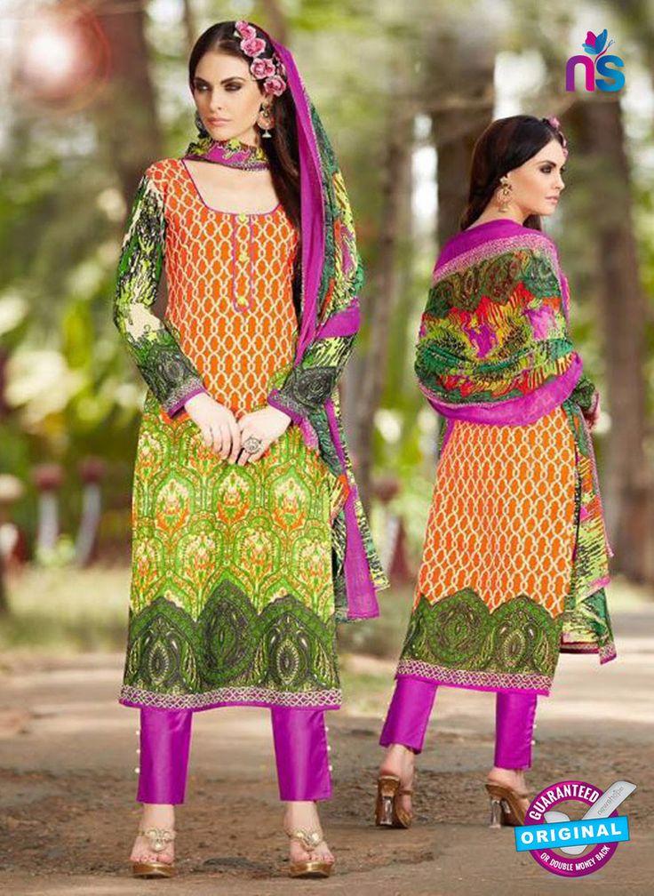 SC 13240 Orange, Green and Purple Printed Pure Lawn Straight Pakistani Suit