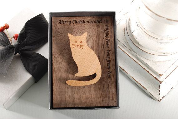 SITTING CAT BROOCH  ready to give gift box solid by MoodForWood