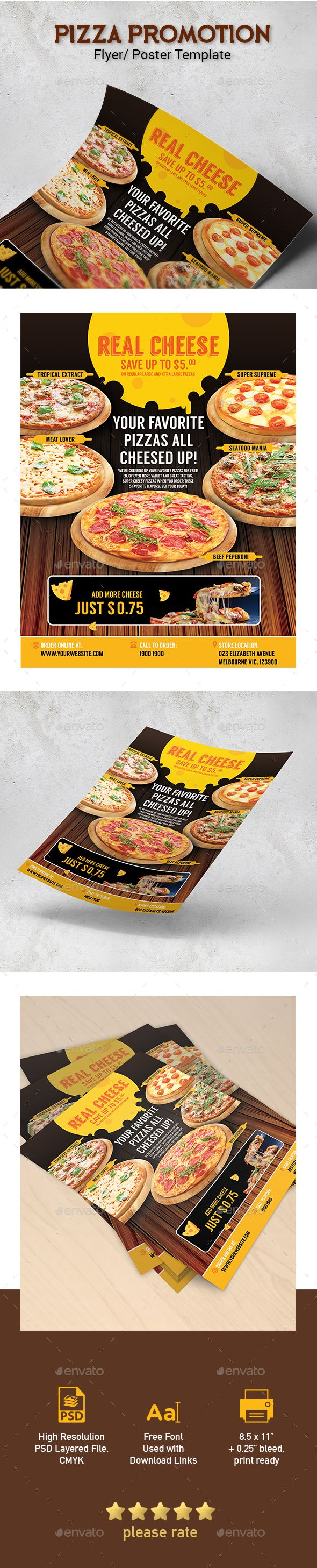 Pizza Menu Restaurant Promotion Template for Poster / Flyer